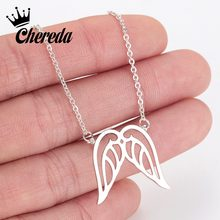 Chereda Fashion Tiny Wing Necklace Personalized Stainless Steel Hollow Dainty Gold Silver Jewelry for Women Accessories Gift(China)