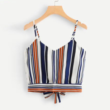 2da67ddc8eb377 Feitong Women s Ladies Crop Tank Tops Sexy Self Tie Back V Neck Striped Cropped  Top Camisole