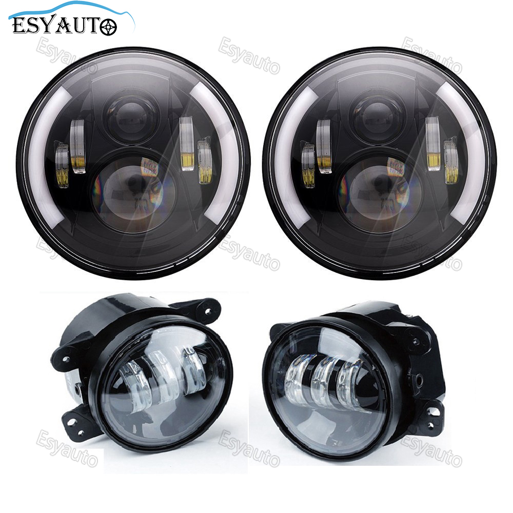 Black Combo LED Offroad 7 Headlamps Car Driving Lights 60W H4/H13 Daymaker Projectors + 4 Inch Auxiliary Passing Lamps for Jeep