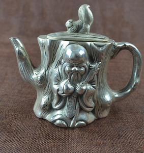 Image 2 - الصين جمع هجر الفاظ الأبيض النحاس إله طول العمر إبريق الشاي الحرف تمثال