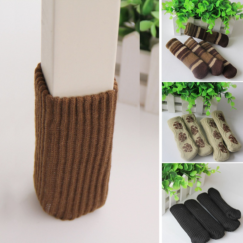 Newly 4Pcs Furniture Chair Leg Cover Pad Anti-Slip Floor Knitting Sock Table Feet Mat Protector Chair Foot Sleeve  цена и фото