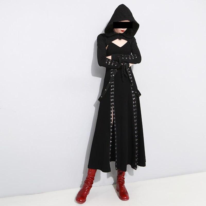 a5b95cf62c8 Punk Rock Darkness Style Metal Hook Split High Waist Black Backless Strap  Dress+Cross Strap