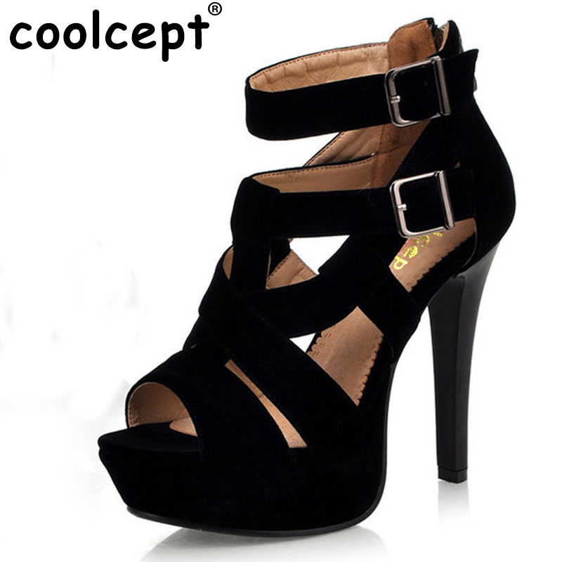 Coolcept ladies high heel sandals thin flock dress shoes heels fashion heels women sexy fashion H936 Hot sell  size 34-39 цены онлайн