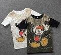 Womens Sueltos Verano Medio-Larga Tees Tops Harajuku camiseta de Lentejuelas Apliques de Personajes de Dibujos Animados Ocasional Blusas Femininas NS240 NS140