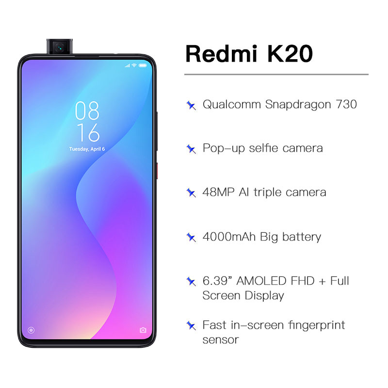 """Image 4 - Global Rom Xiaomi Redmi K20 6GB 128GB Mobilephone Snapdragon 730 48MP Rear Camera Pop up Front Camera 4000mAh 6.39"""" AMOLED-in Cellphones from Cellphones & Telecommunications"""