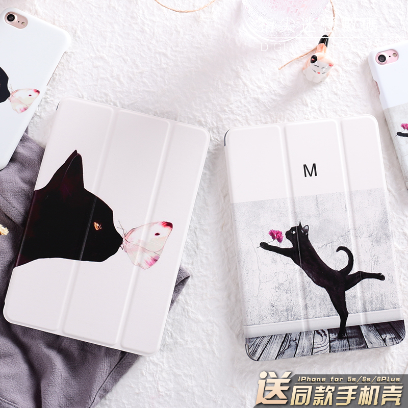 Cartoon Cute Gentle Cat Mini4 Mini2 Mini3 Lovers Flip Cover For iPad Pro 9.7 Air Air2 Mini 1 2 3 4 Tablet Case Protective Shell купить