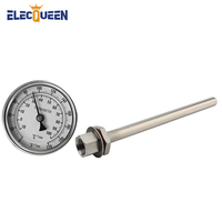 9 Stainless Steel Stem Thermowell Kit with 1/2' NPT Weldless Bi metal Thermometer ,Beer Fermentation Home Brewing Accessories