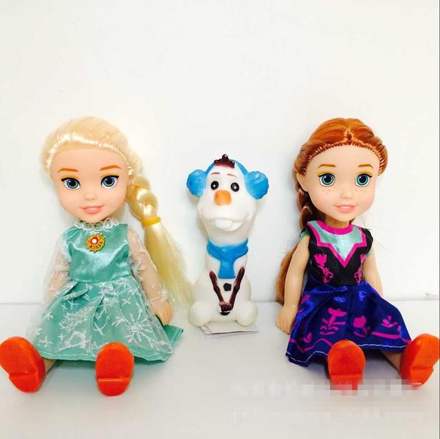 Hot 3 sztuk księżniczka Anna Elsa lalki dla dziewczynek zabawki księżniczka Anna Elsa lalki dla dziewczynek zabawki 16cm małe plastikowe lalki dla dzieci Congelad