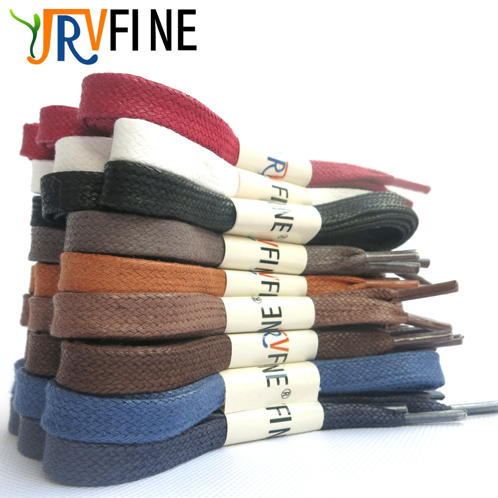 YJRVFINE 2 Pair Cotton Flat Waxed Shoelaces for Leather Boots Dress Shoes Laces Shoestrings for Boots&Canvas Shoes&Sneakers