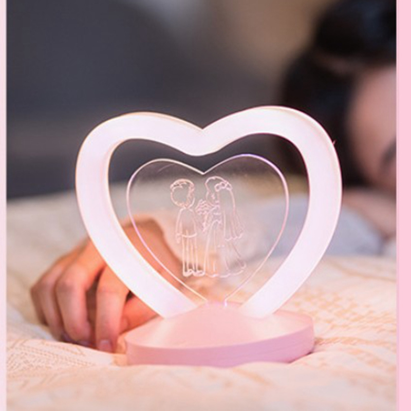 Usb Night Light Diy Custom Girl Heart Birthday Gift Love Confession Message Light Led Table Lamp
