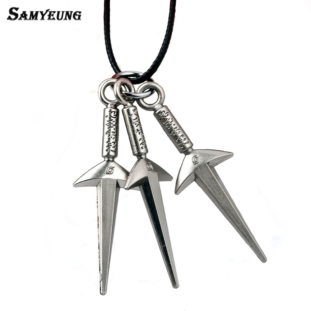 Samyeung Anime Naruto Leather Chain Sword Necklaces for Boy Cosplay Naruto Necklace Steel Necklace Neckless Women Kakashi Bijoux