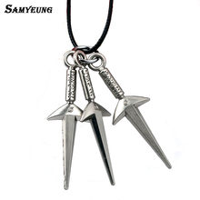 Samyeung Anime Naruto Leather Chain Sword Necklaces for Boy Cosplay Naruto Necklace Steel Necklace Neckless Women Kakashi Bijoux(China)