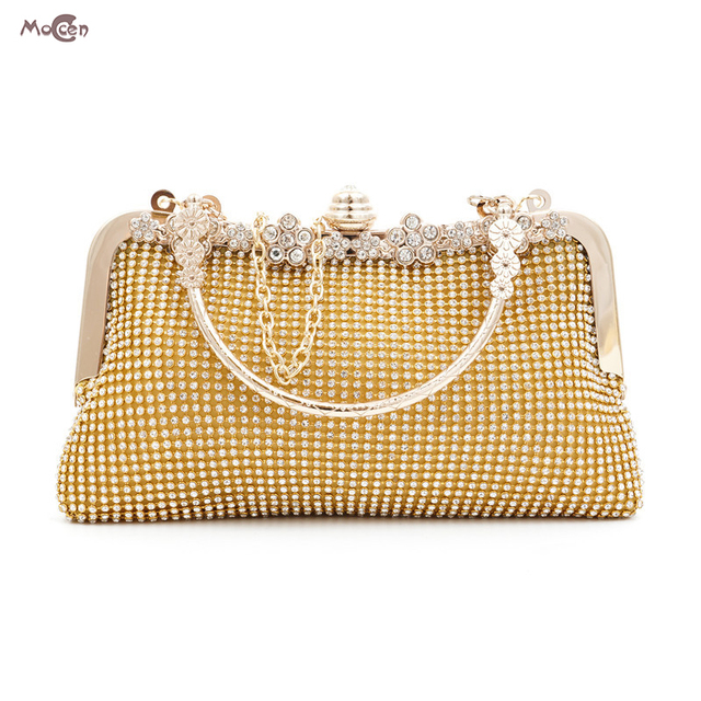 Moccen Lady Clutch Bag Wedding Party Handbag Luxury Chain Clutches Full Diamonds Purses And Handbags Crossbody