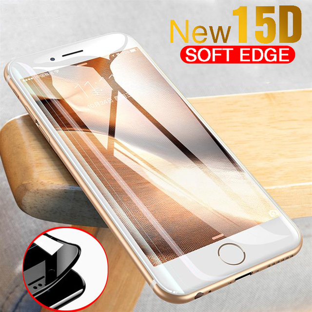 15D Curved Edge Full Cover Screen Protector Glass on the For iPhone 7 8 6 6S Plus Tempered Glass For iPhone 6 6s Plus Glass Film