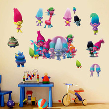 Фотография Creative cute trolls wall stickers for kids rooms home decor cartoon wallpaper removable diy notebook stickers