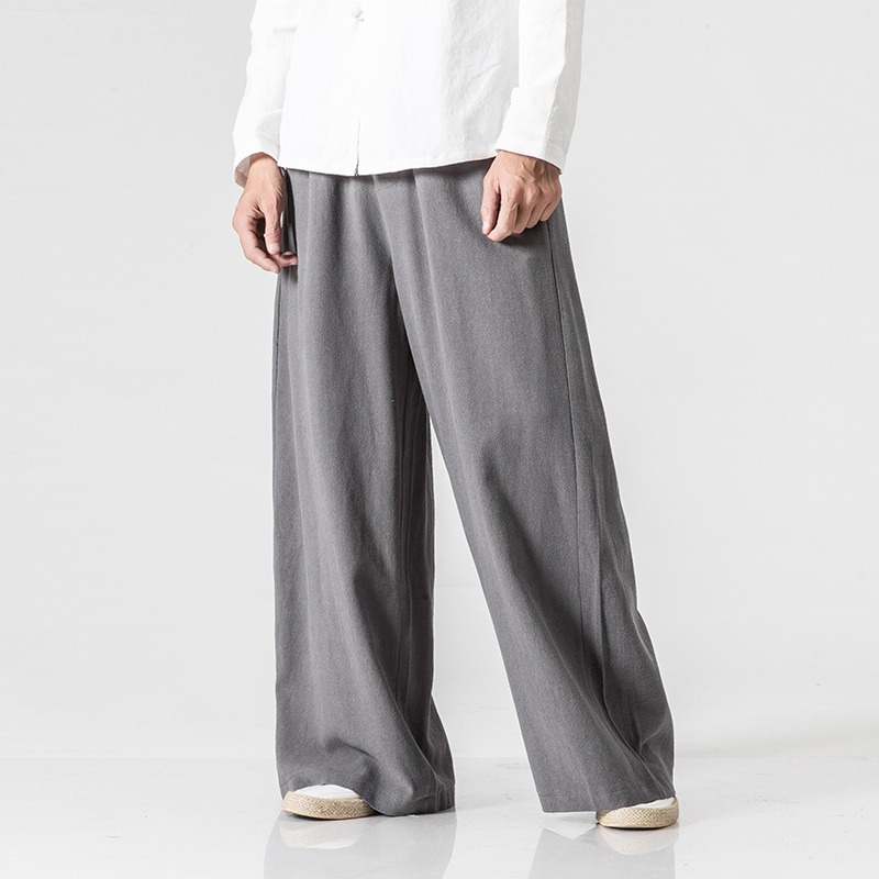New Chinese Style Male Fashion Loose Comfortable Trousers Cotton Linen Extra Wide Leg Pants Men Solid Drawstring Harem Pants