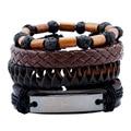 4 Pcs Punk Retro Leather Male Bracelet Wrap Jesus Bible Letter Bracelet Cuff Men Jewelry Volcanic Stone Wood Bead Plaited Bangle