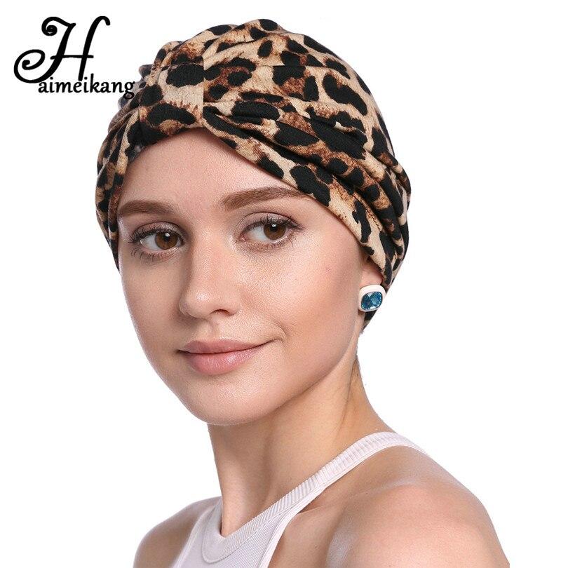 Haimeikang Women Elastic Leopard Print Head Wrap Headband Autumn Flower  Printed Chemo Cap Indian Hats Turban Hair Accessories 3bb82ed60de0