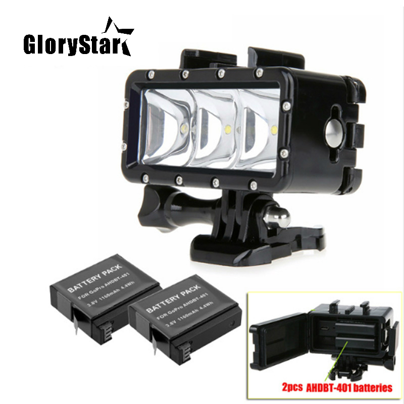 Go Pro 35m Diving Led Flash Light Underwater lamp (2x Hero4 Batteries) For GoPro Hero 5 3+4 4S XiaoMi yi 4K 4k plus SJCAM sj4000