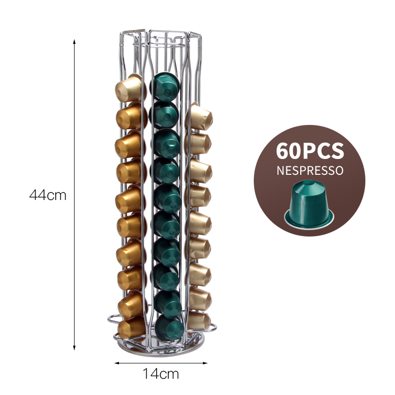2019 Brand Nespresso Coffee Pod Holder Storage 60 Nespresso Capsules Stand Kitchen Metal Shelves Organization Capsules Rack
