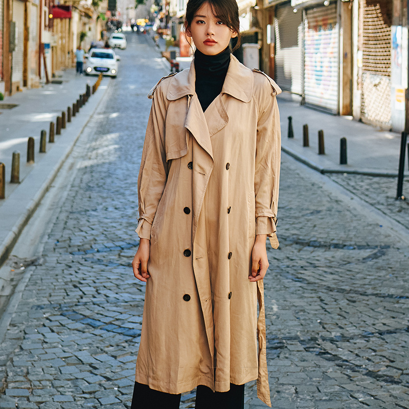 New Original Casual Women's Clothing Temperament Solid Color Single-breasted Long Coat Fashion High-end Tencel   Trench   Coat