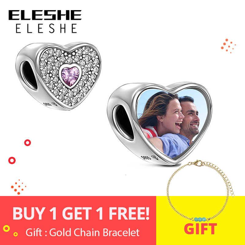 ELESHE Personalized Custom Photo 925 Sterling Silver Crystal Heart Charms Beads Fit Pandora Bracelet Bangle Original DIY Jewelry