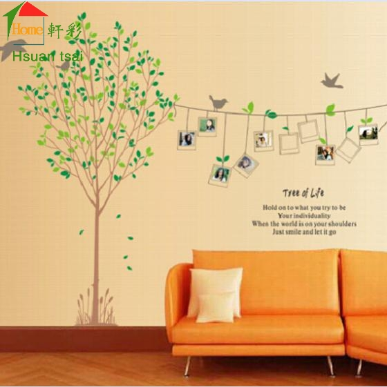 King Size BIG Photo Frame Tree Birds Vinyl Wall Stickers Home Decor Rooms  Living Sofa Wallpaper Wall Art Decals House Decoration