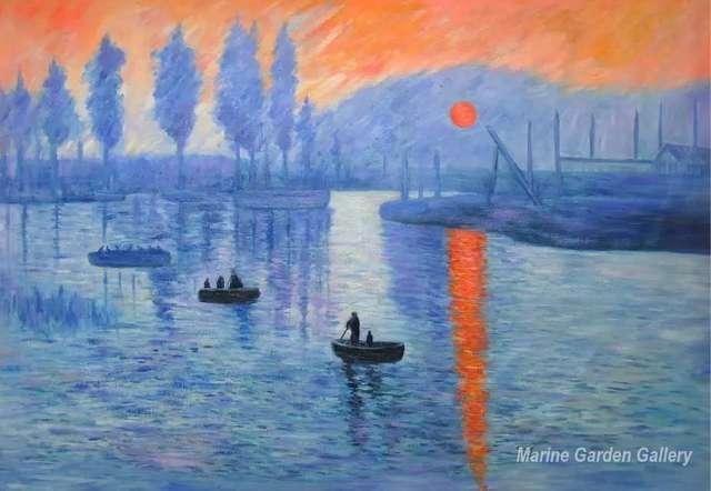 Peinture à l\'huile Toile Art Impression, Soleil Levant by Claude ...