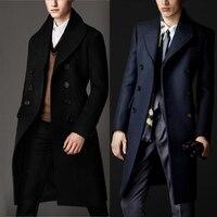 На заказ размеры Роскошные британский стиль 80% кашемировое пальто мужской зимний Тренч мужские Длинные шерстяное черный темно синий
