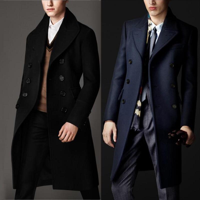Tailles personnalisées De Luxe Style Britannique 80% Cachemire Manteau Homme Hiver Trench Manteau Hommes Manteau Long En Laine Noir Bleu Marine