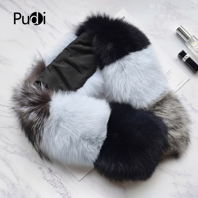 Pudi SF805 woman real fox fur   scarf   2018 new brand girl fashion patchwork genuine sliver fox fur   scarves     wrap   shawl   wraps