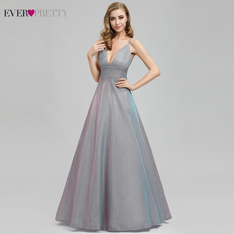 Ever Pretty Sexy   Prom     Dresses   Long Deep V-Neck A-Line Backless Spaghetti Straps Sparkle Formal Party Gowns Vestidos De Gala 2019