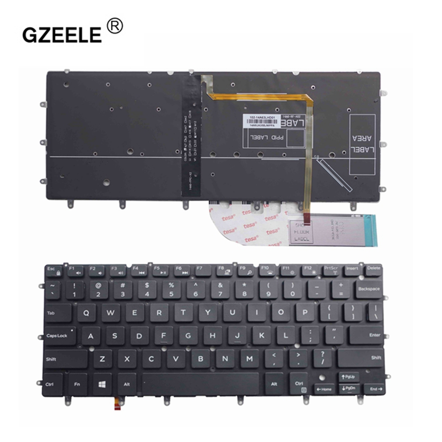 GZEELE US backlit laptop keyboard for DELL Inspiron XPS 13 7000 7347 7348 7352 7353 7359 15 7547 7548 9343 9350 9360 N7548 black laptop us keyboard for dell xps13 9343 9350 9360 backit keyboard touchpad and palmrest assembly