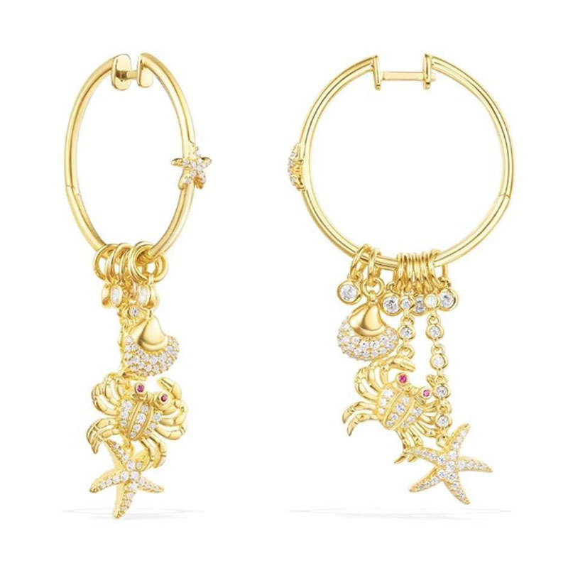 SLJELY Luxury 925 Sterling Silver Gold Color Sea Creatures Crab Starfish Shell Earrings Inlay Cubic Zirconia
