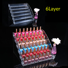TOP Acrylic Makeup Nail Polish Storage Organizer 6 Layer Rack Display Stand