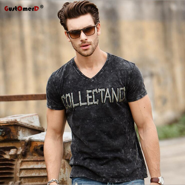 GustOmerD Brand New T shirts Fashion V-neck Collectand T shirt Men's Pure Cotton T-shirt Short Sleeve T shirt Man's Trend Tops