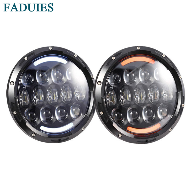 FADUIES Black 7 Inch 105W Round Daymaker LED Projector Headlight Waterproof Bulb For Harley Davidson Motorcycle & Jeep Wrangler