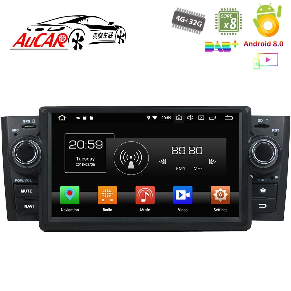 Android 8.0 lecteur DVD de voiture pour Fiat Linea Grand Punto voiture GPS système multimédia HD Bluetooth Radio WIFI FM AM RDS 4G AUX 1 Din