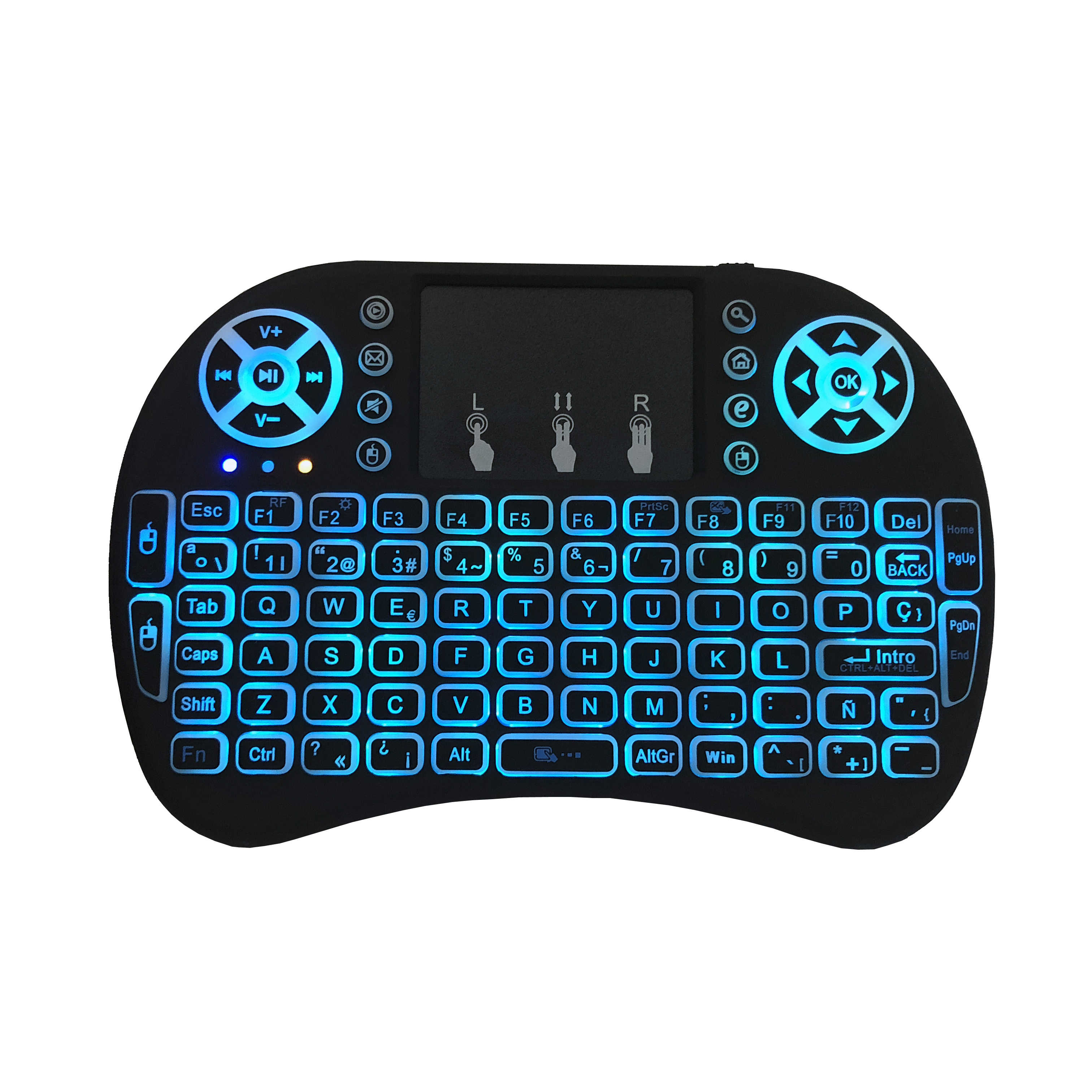 Image 4 - Spanish i8 mini keyboard 3 color backlit i8+ lithium battery backlight Air Mouse Remote Control Touchpad Handheld TV BOX Laptop-in Keyboards from Computer & Office