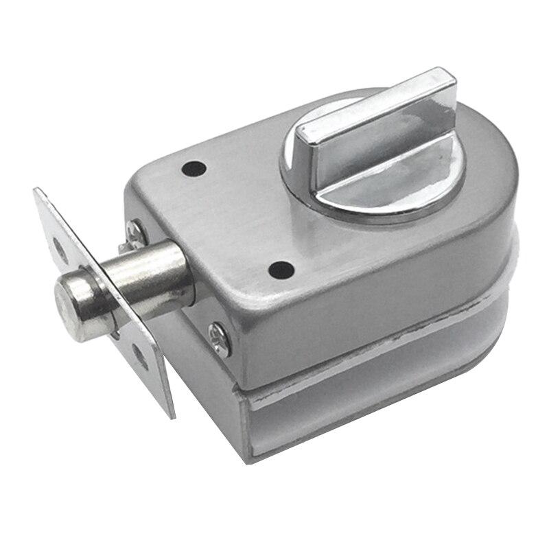 Glass Sliding Door Latch Lock Non-Apertured Stainless Steel Glass Door Lock For Shower Room Bathroom Accessories