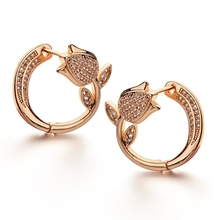 Top Quality Cubic Zirconia Inlaid Rose Flower Stud Earrings Gold Plated Double Sided Ear Buckle