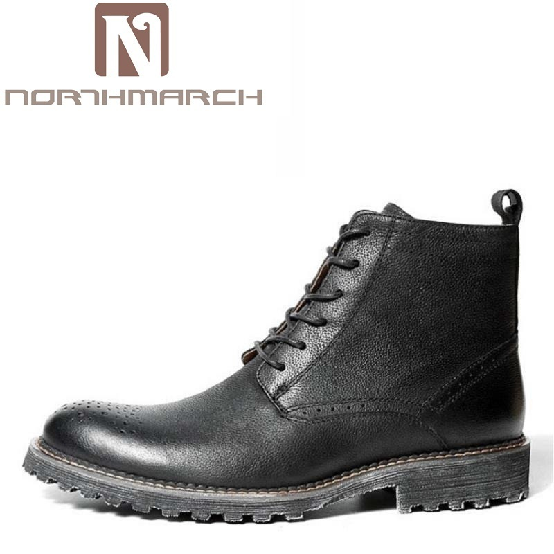 купить NORTHMARCH Genuine Leather Lace Up Round Toe Work Safety Boots Comfortable Ankle Martin Boots Mens Winter Riding Boots Askeri по цене 14430.43 рублей