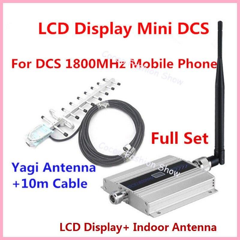 1 компл.. Семейный ЖК GSM DCS 1800 мГц мобильный телефон усилитель сигнала повторитель усилитель, DCS 4G сотовый усилитель сигнала с антенной