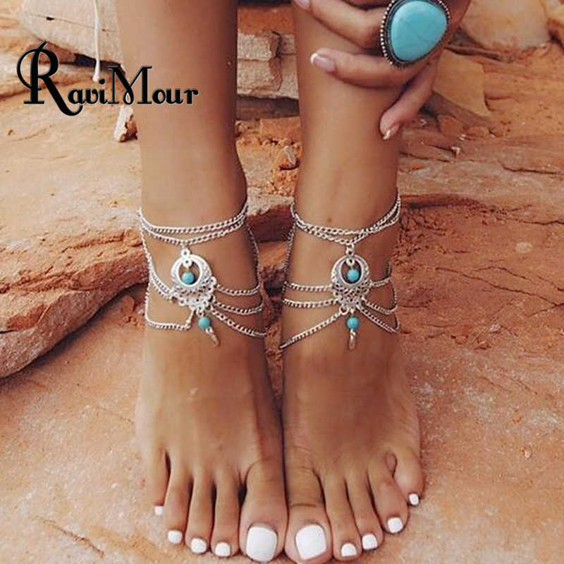 RAVIMOUR Vintage Silver Color Ankle Bracelet Foot Jewelry Barefoot Sandals Anklet For Women Tornozeleira Chaine Cheville Bijoux