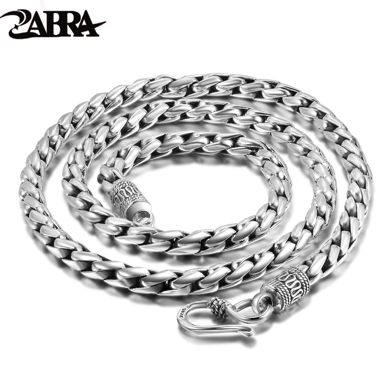 цена на ZABRA Solid 925 Sterling Silver 5mm 55cm Vintage Long Chain Necklaces for Men Steampunk Retro Rock Fashion Men Sterling Jewelry