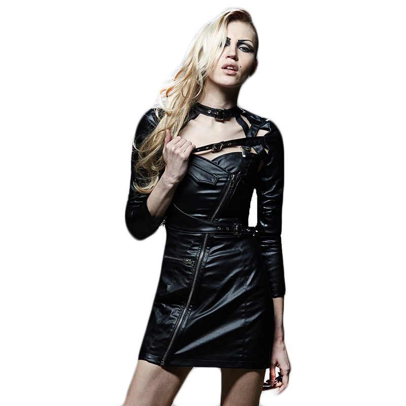 Черная панк рок кожа женская короткая куртка готическая Сексуальная с длинным рукавом весеннее пальто новые кожаные куртки для женщин на м