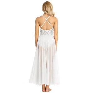 Image 4 - Женское балетное платье с блестками TiaoBug, Сетчатое блестящее балетное платье без рукавов, танцевальное трико для взрослых, балерина, для вечеринки, для сцены