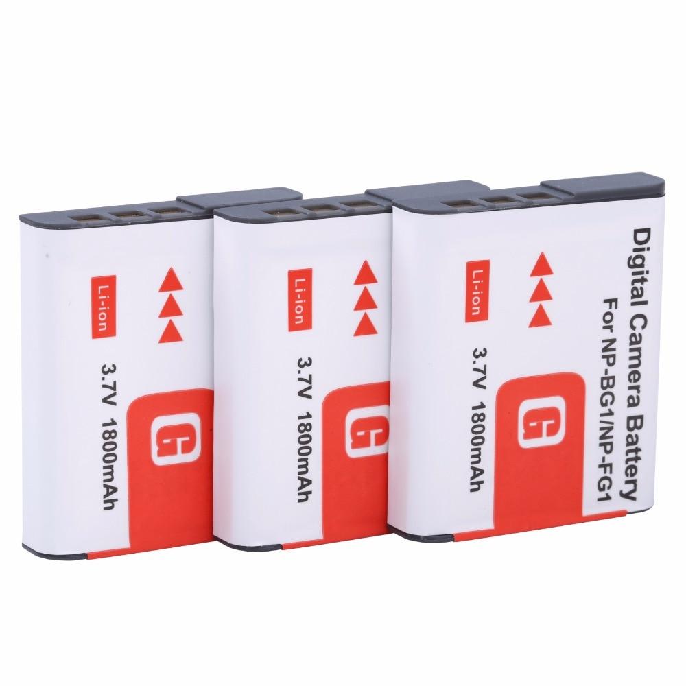 цена на 3* 1800mah NP-BG1 NP BG1 NP-FG1 Battery For SONY Cyber-shot DSC-H3 DSC-H7 DSC-H9 DSC-H10 DSC-H20 DSC-H50 DSC-H55 DSC-H70 DSC-H90