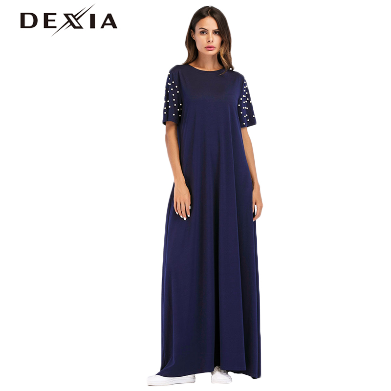 Dexia Robe Beading Dresses Women Short Sleeve Summer Dress