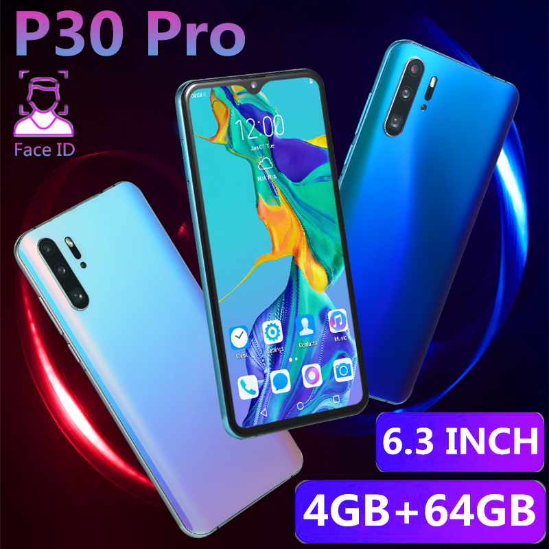 Original P30 Pro Mobile Phone 4GB RAM 64GB ROM 6.3INCH 13MP 4800mAh MTK6580 Face Recognition Unlocked Smartphones Android OS